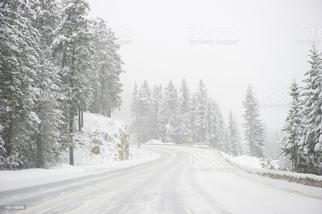 Wide windy highway blizzard thru snow covered forest stock photo