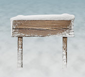 Wide wooden sign with snow on it and snow bg