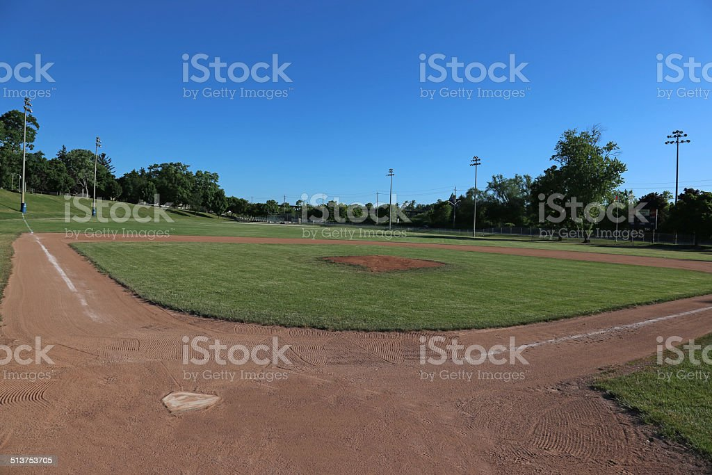 Wide-angle Baseball Field stock photo