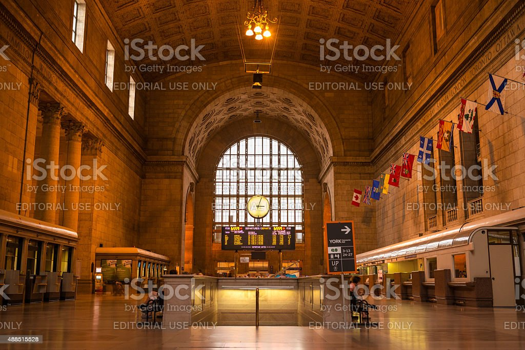 Wide-angle inside view of Union Station in Toronto stock photo