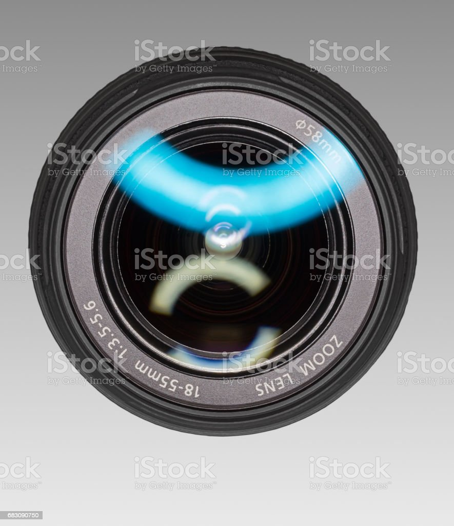 Wide-angle lens for digital camera. stock photo