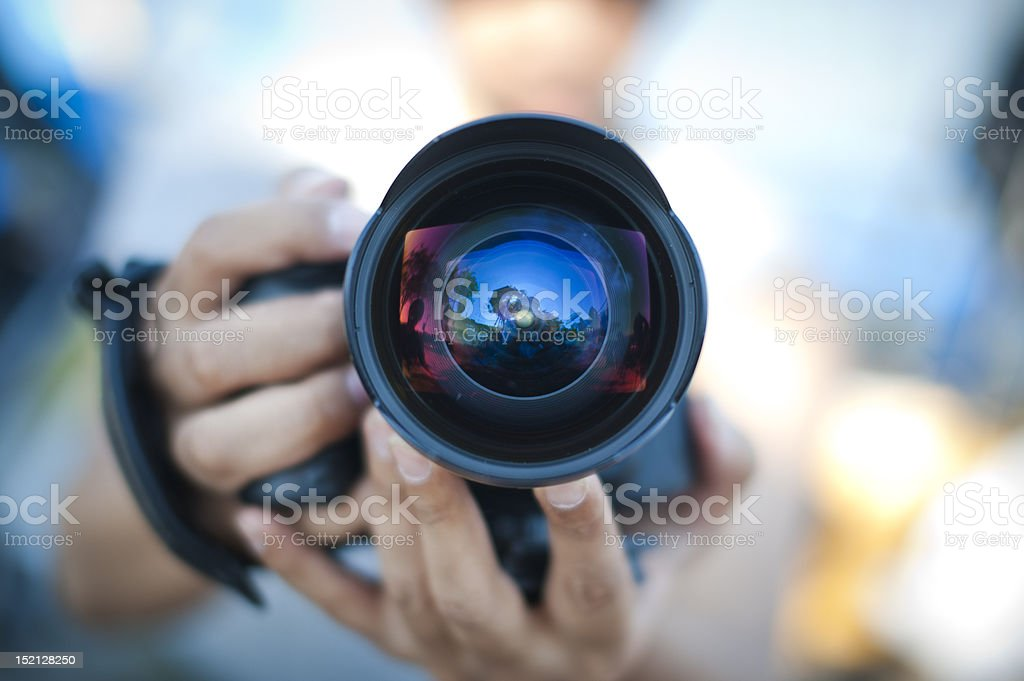 Wide-Angle Lens on a Camera stock photo