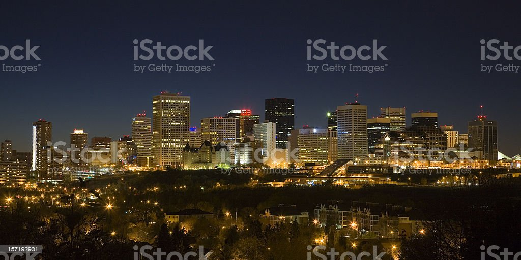 Wide-angle shot of Edmonton night skyline stock photo