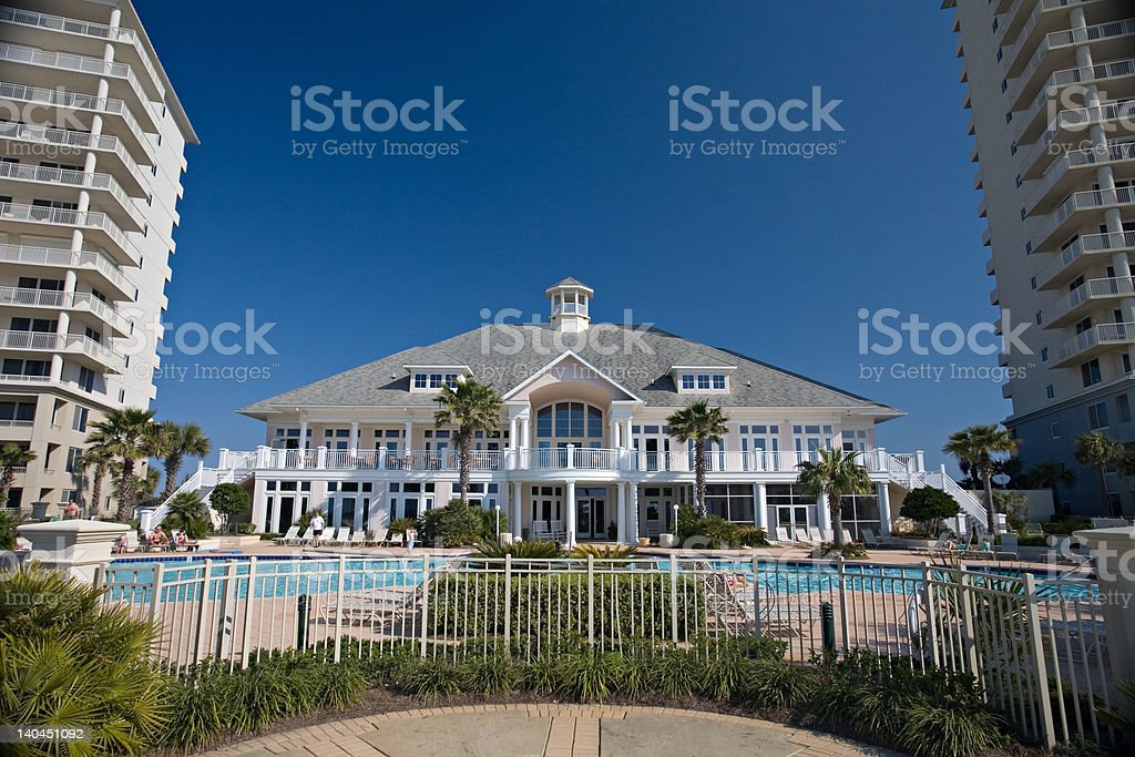 Wide-angle view of club house between condos stock photo