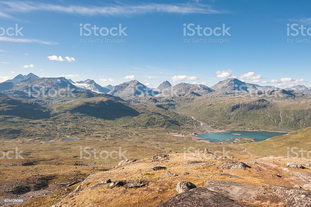 Wide-angle view of Jotunheimen National Park in Norway in August stock photo