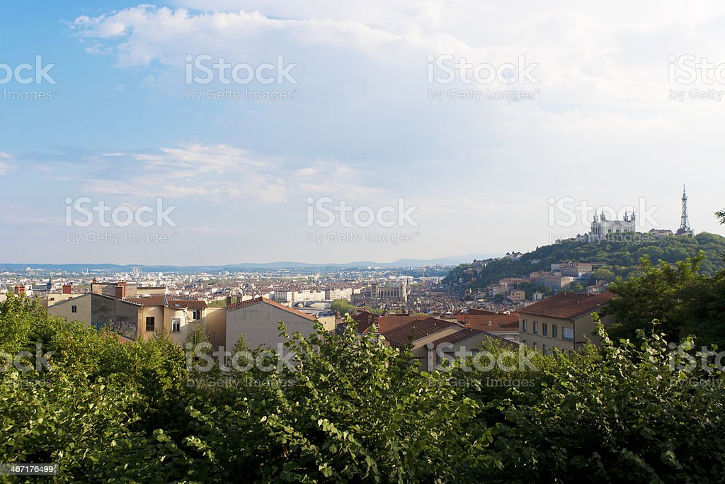 Wideangle view of Lyon stock photo