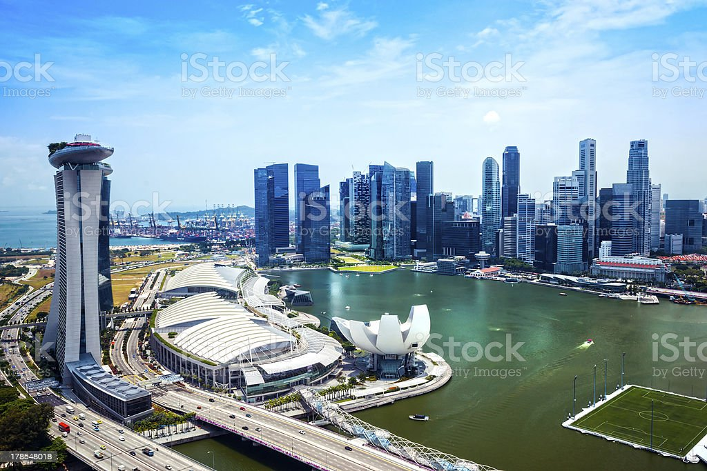 Wide-angle view of Singapore city skyline. stock photo