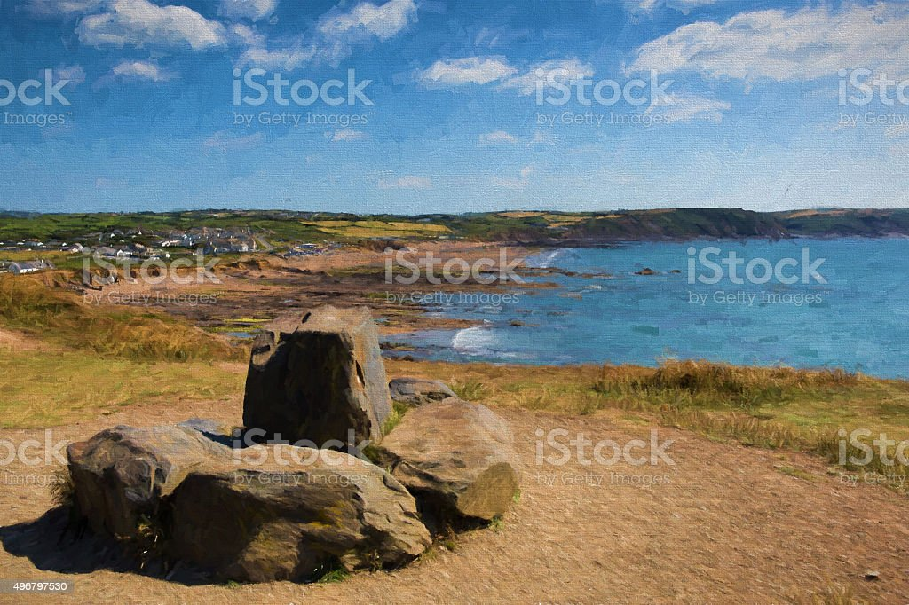 Widemouth Bay near Bude North Cornwall illustration like oil painting stock photo