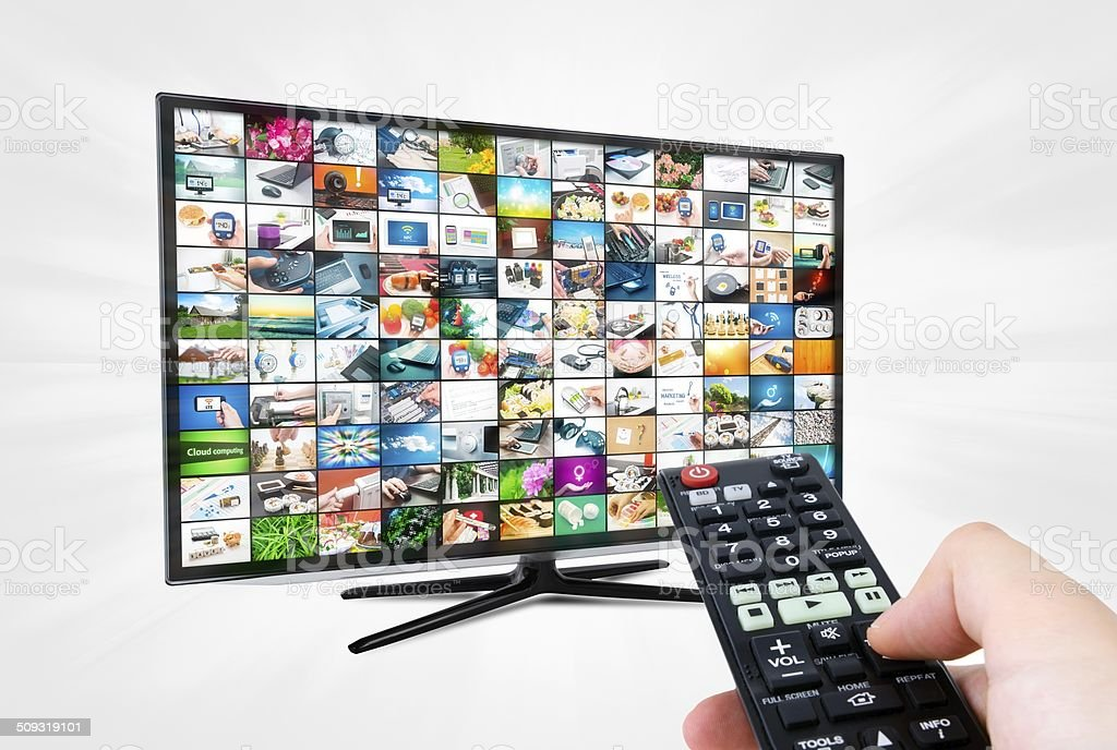 Widescreen high definition TV screen with video gallery. stock photo