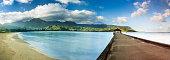 Widescreen panorama of Hanalei Bay and Pier on Kauai Hawaii