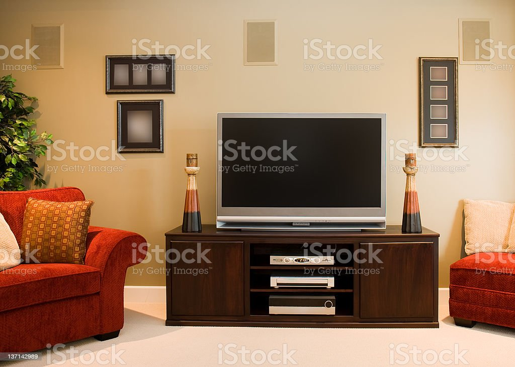 Widescreen Television in Family Room stock photo