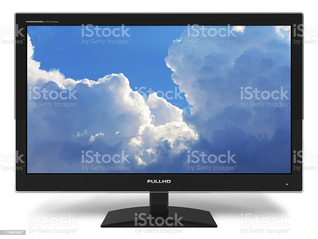 Widescreen TFT display with blue sky stock photo