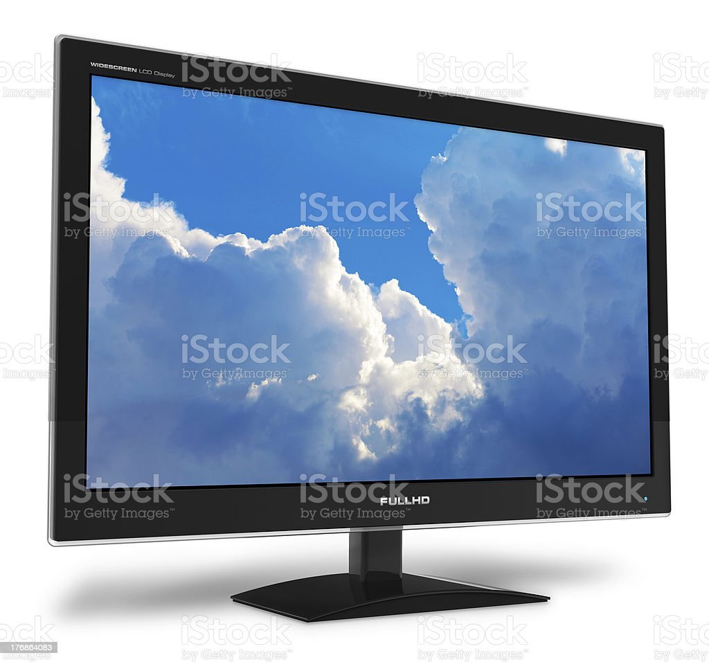 A widescreen TFT TV display with a blue sky on the screen stock photo
