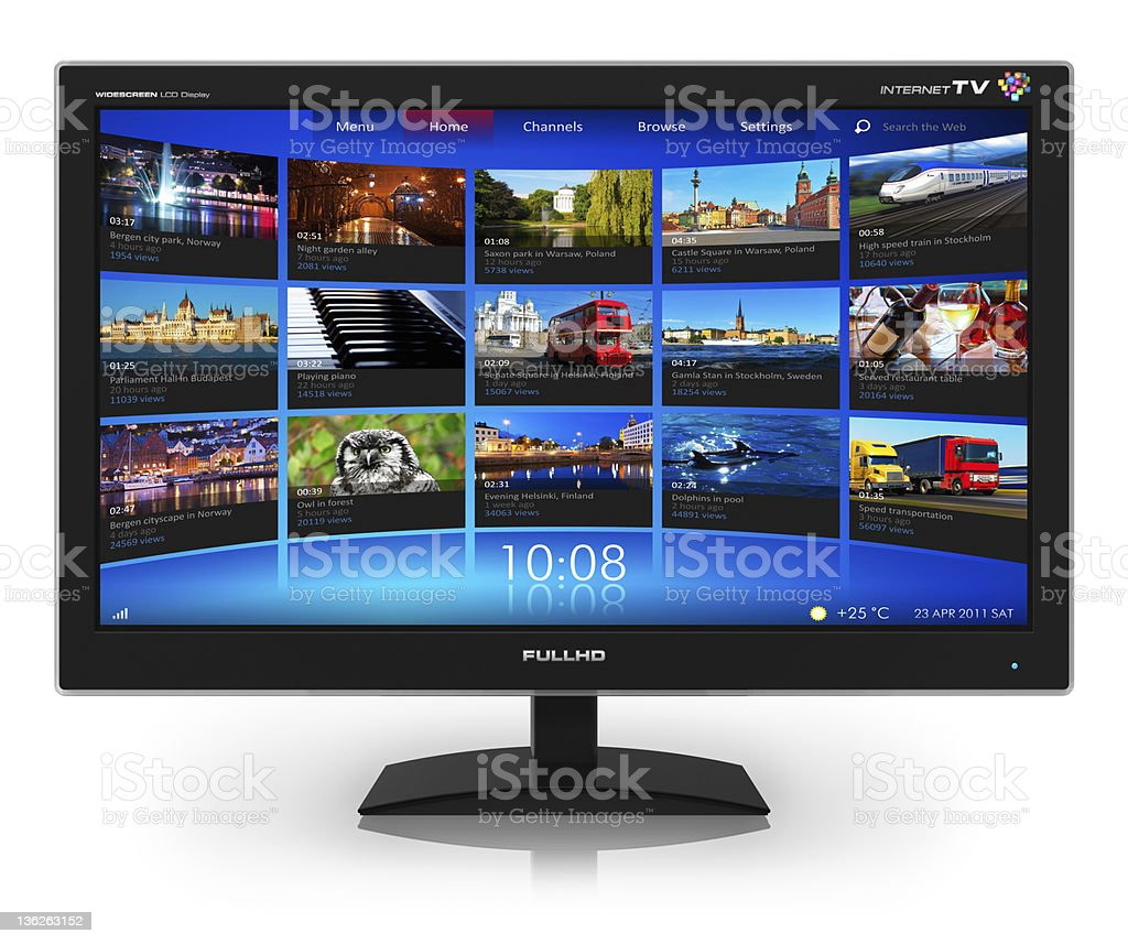 Widescreen TV with streaming video gallery stock photo