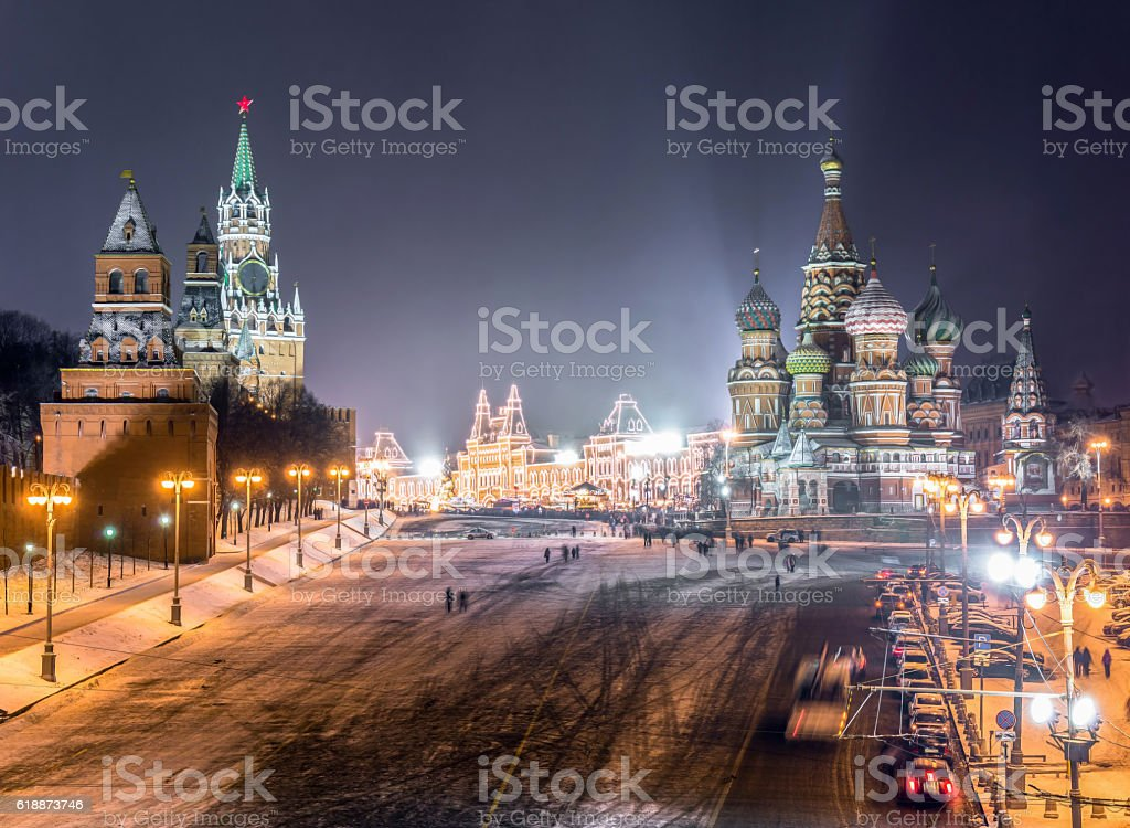 Widescreen view of Kremlin and Read Square in winter stock photo