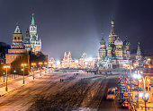 Widescreen view of Kremlin and Read Square in winter