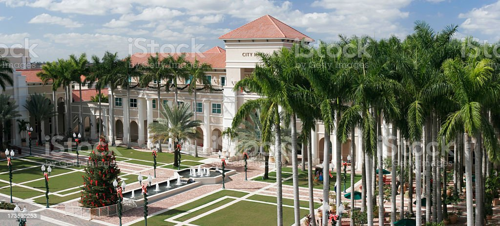 Wide-shot of Miramar City Hall on a Sunny Day stock photo