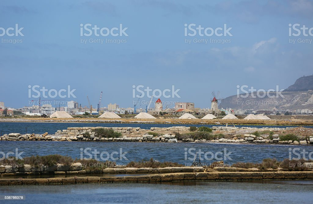 Widmill in Marsala stock photo