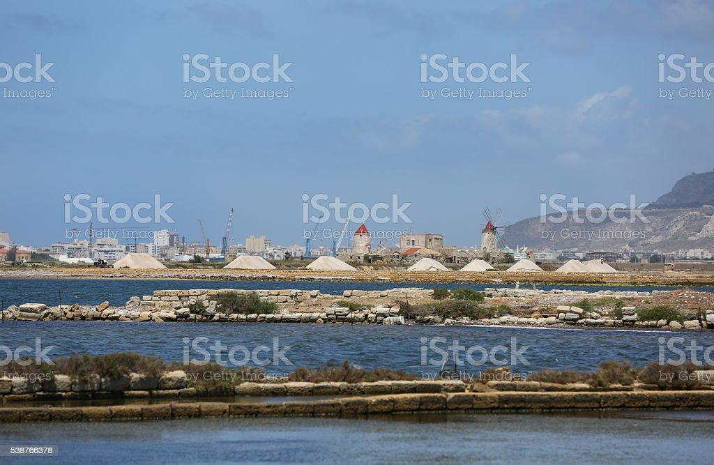 Widmill in Marsala stock photo