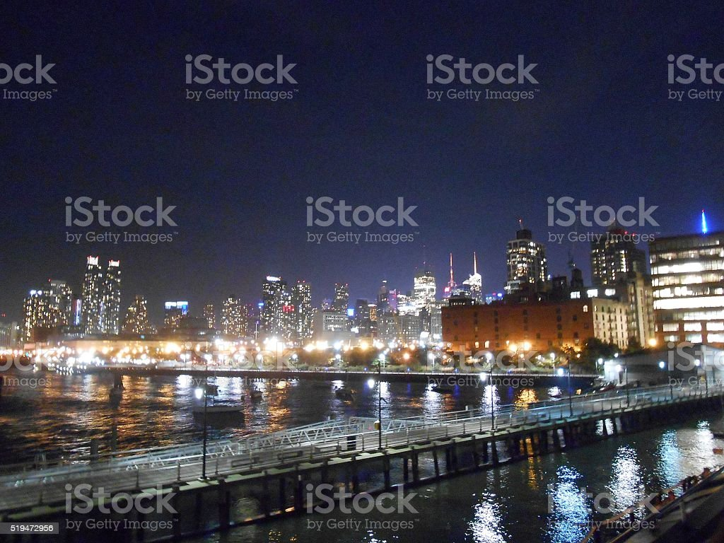 Widtown West in Manhattan, New York at Night. stock photo