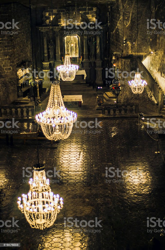 Wieliczka Salt Mine Church stock photo