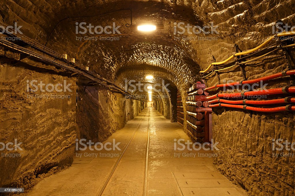 Wieliczka salt mine. stock photo