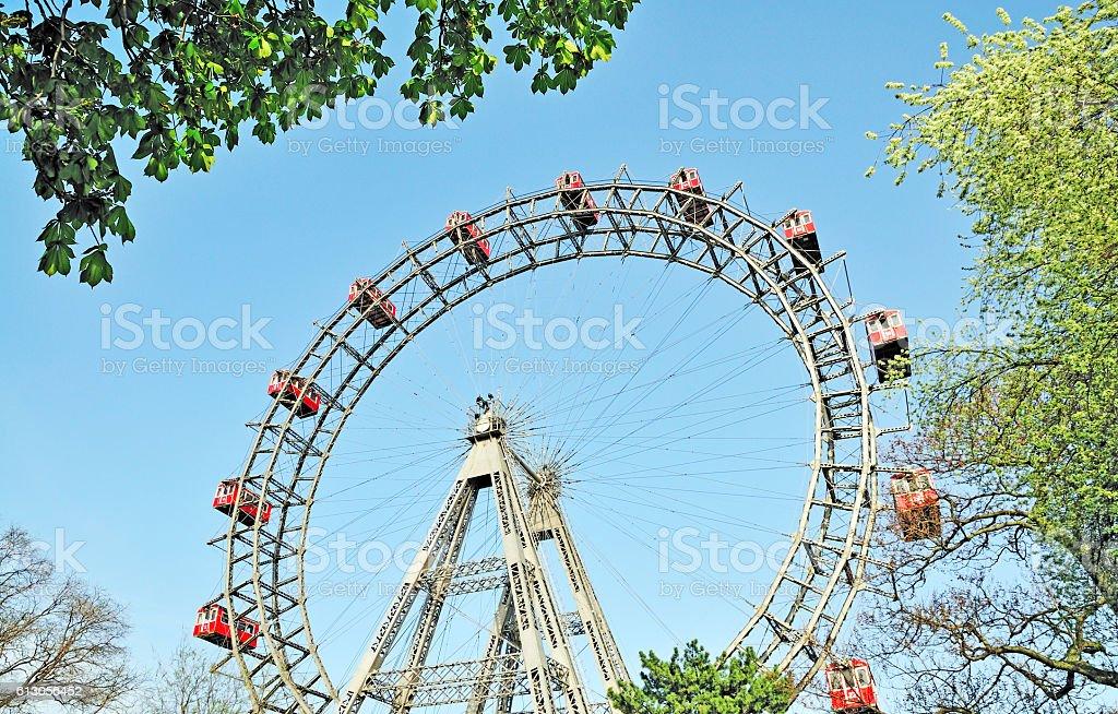 Wiener Riesenrad, Giant Ferris Wheel in Prater Park, Vienna, Austria stock photo