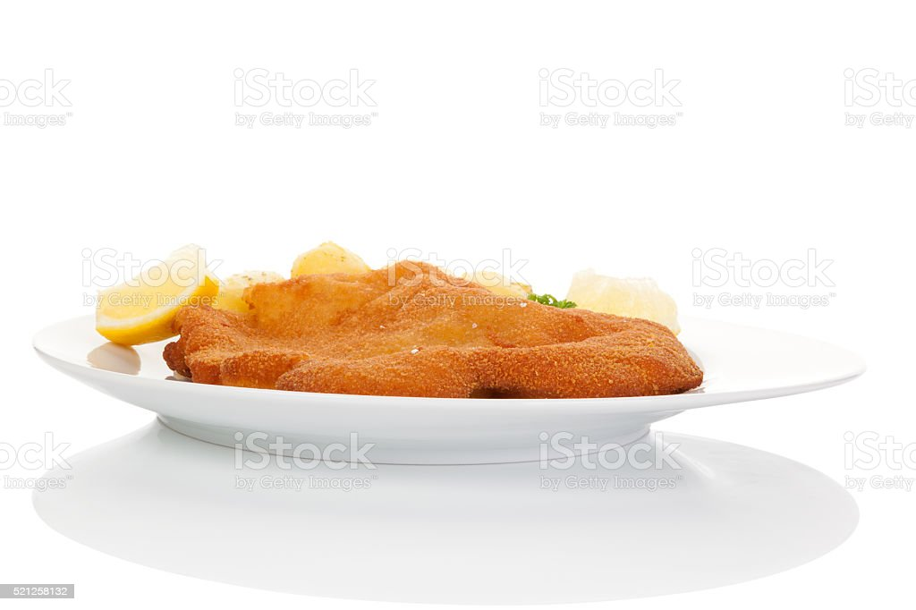 Wiener schnitzel on plate isolated. stock photo
