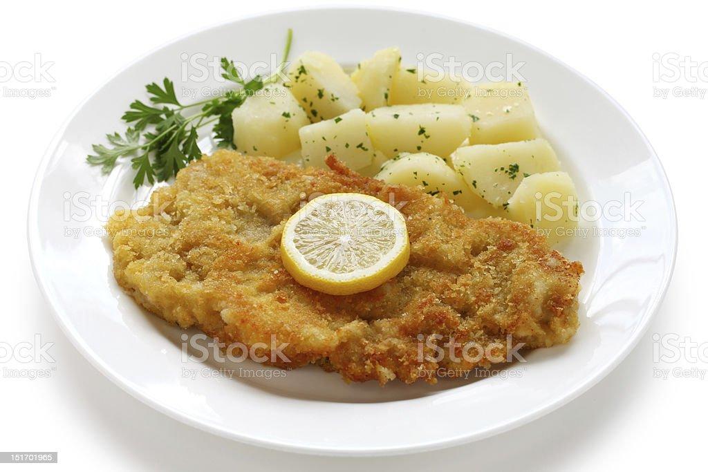 wiener schnitzel, veal cutlet stock photo