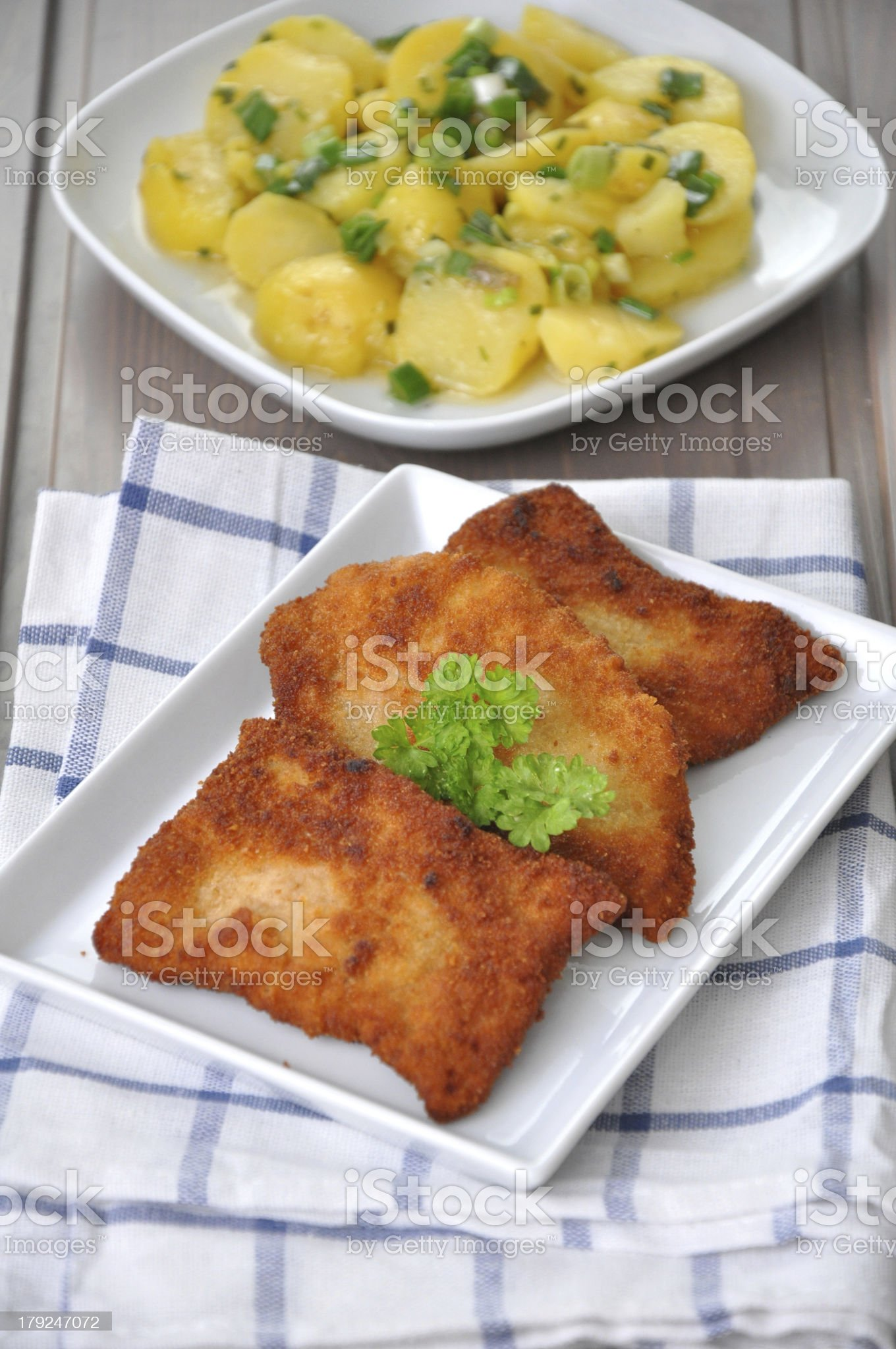 Wiener Schnitzel with potato salad royalty-free stock photo