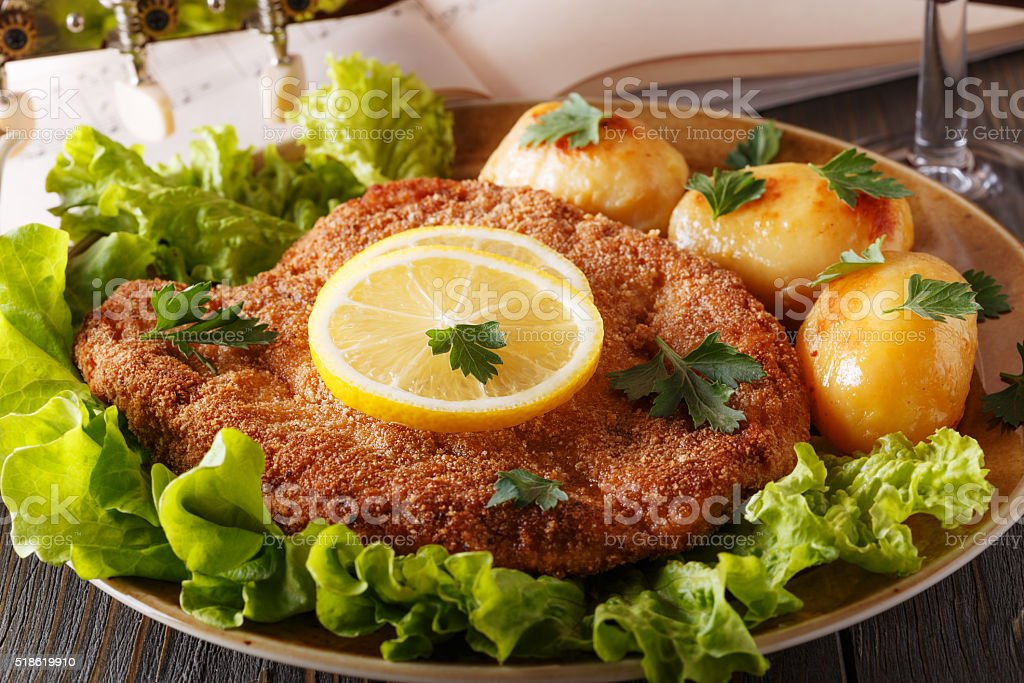 Wiener schnitzel with potatoes and salad. stock photo