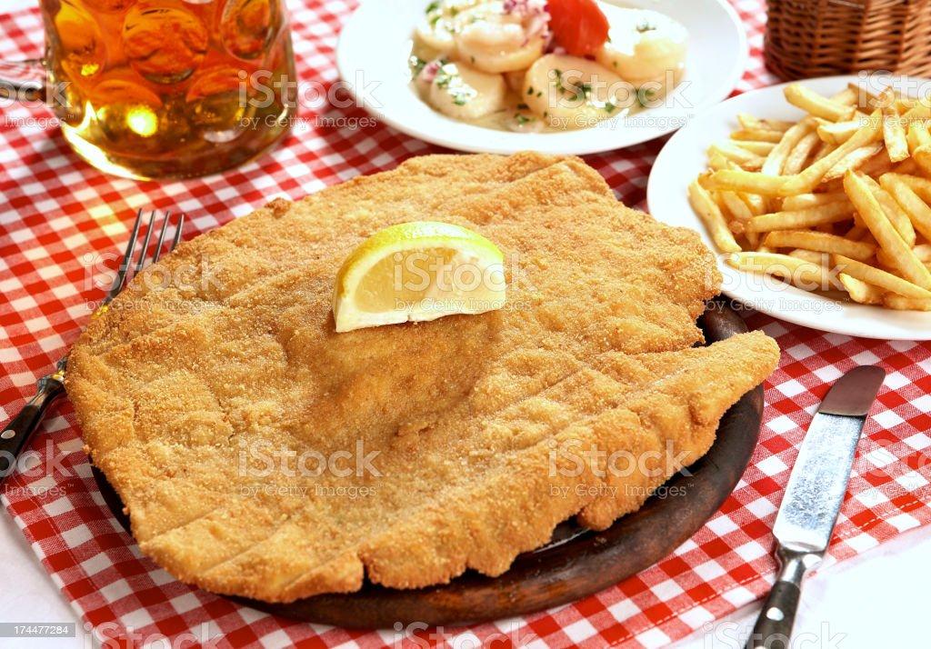 Wiener style schnitzel stock photo