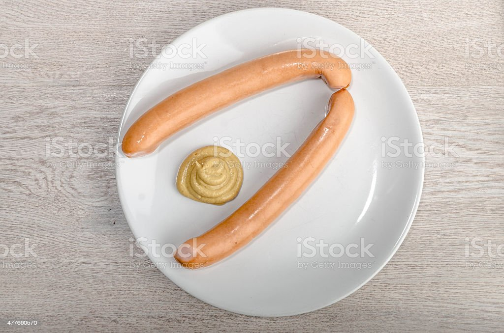 Wiener Wuestchen on Wooden Table stock photo