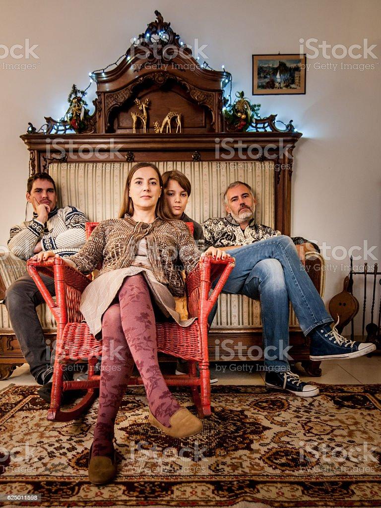 Wierd Christmas Family Reunion Portrait stock photo