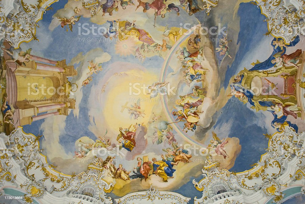Wies Church roof decoration. stock photo
