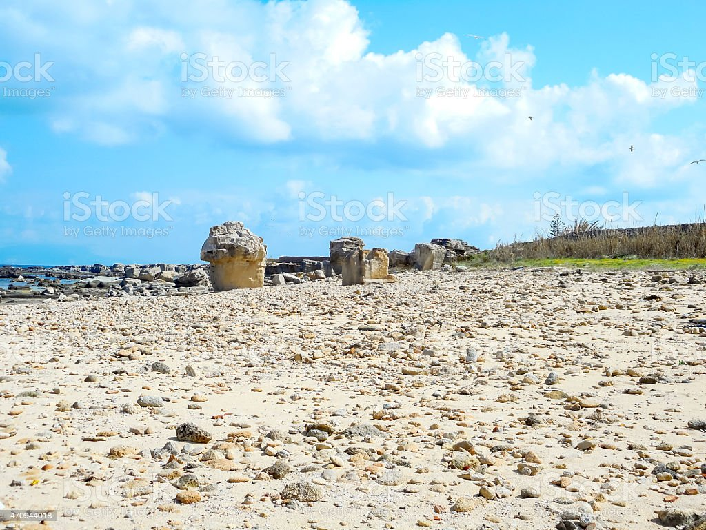 Wiew of a rocky shore of a Sicily island stock photo