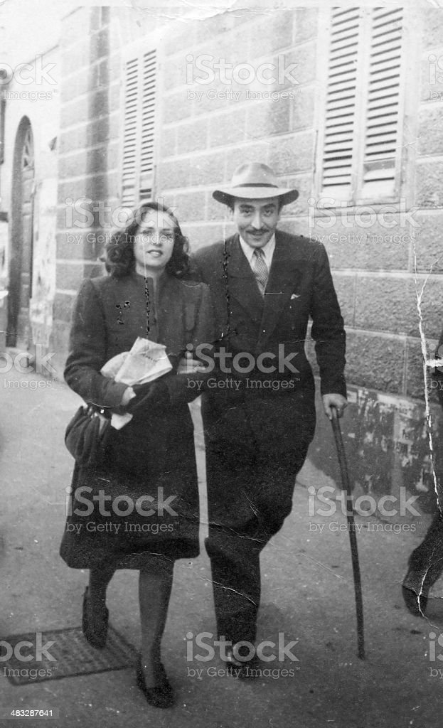Wife and husband from 1945 royalty-free stock photo
