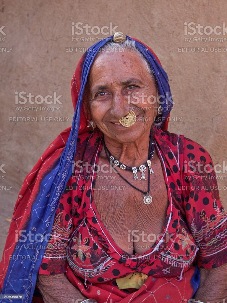 Wife of the head man of a Bishnoi village, Rajasthan stock photo