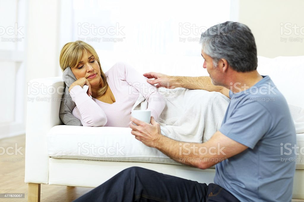 Wife with fever royalty-free stock photo