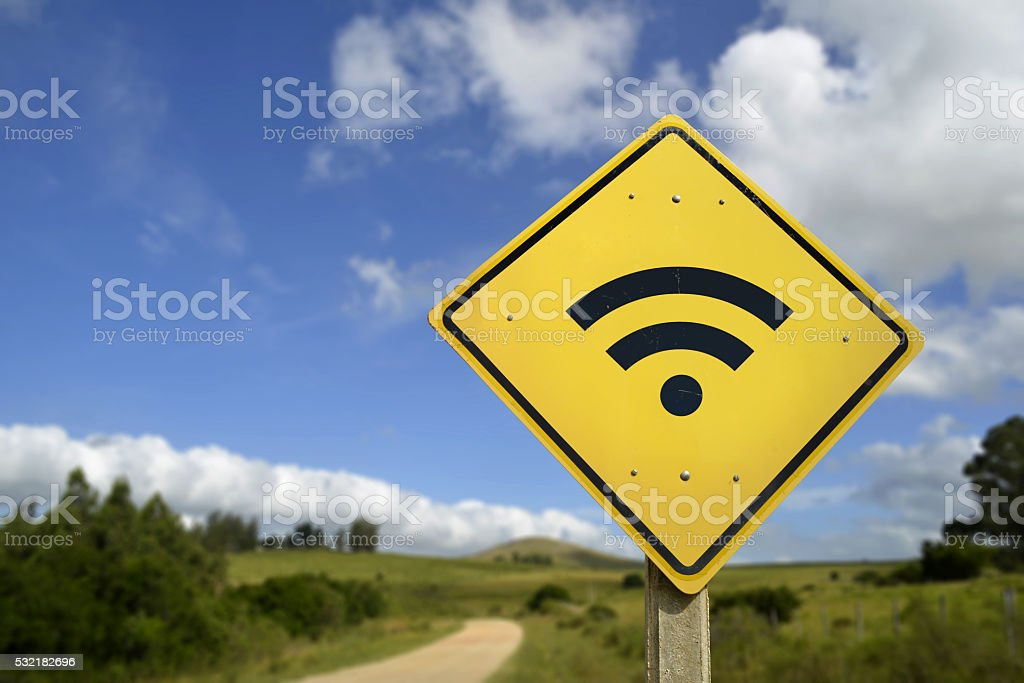 Wifi access road sign concept in rural area stock photo