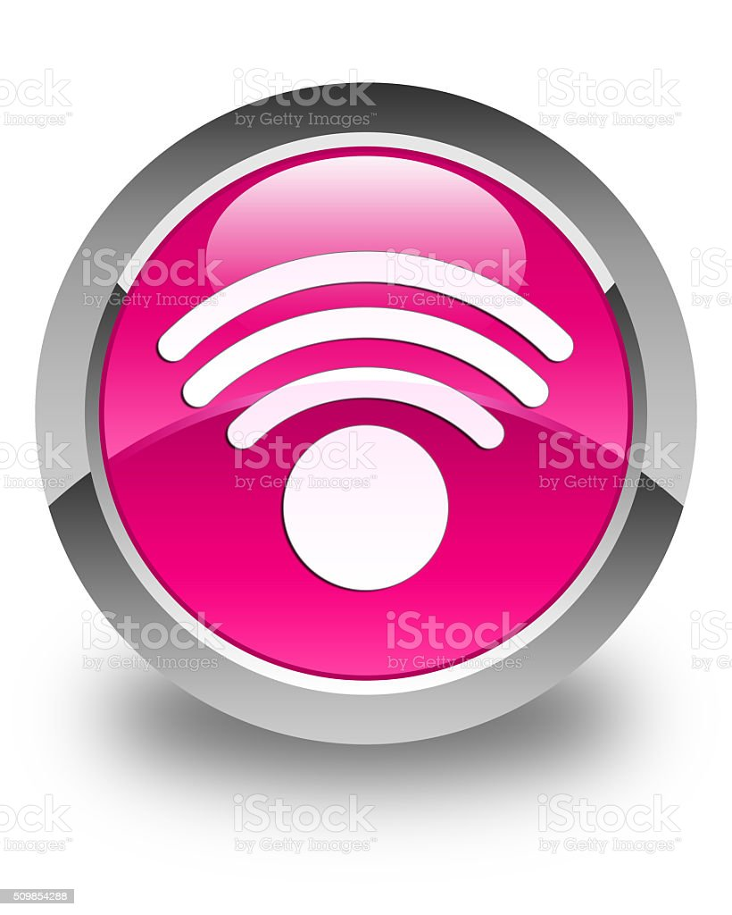 Wifi icon glossy pink round button stock photo