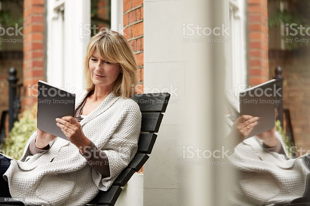 Wifi lets her connect everywhere stock photo