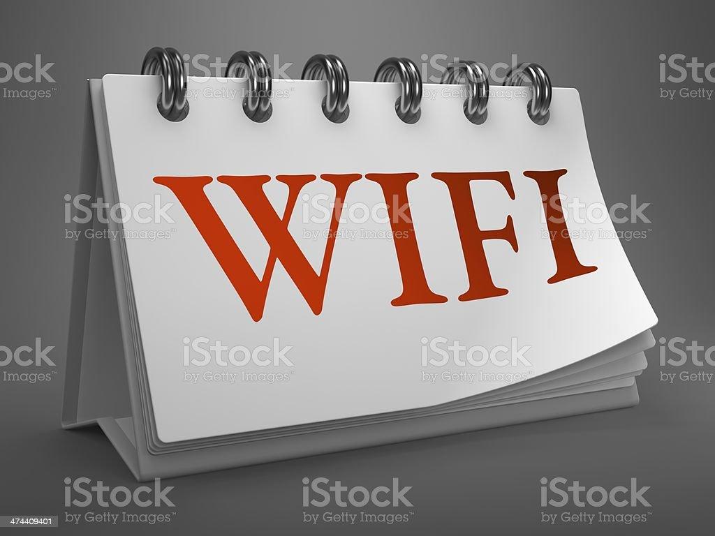 WiFi on Desktop Calendar. royalty-free stock photo