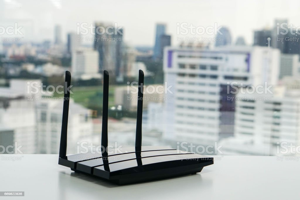 WiFi router with city view stock photo