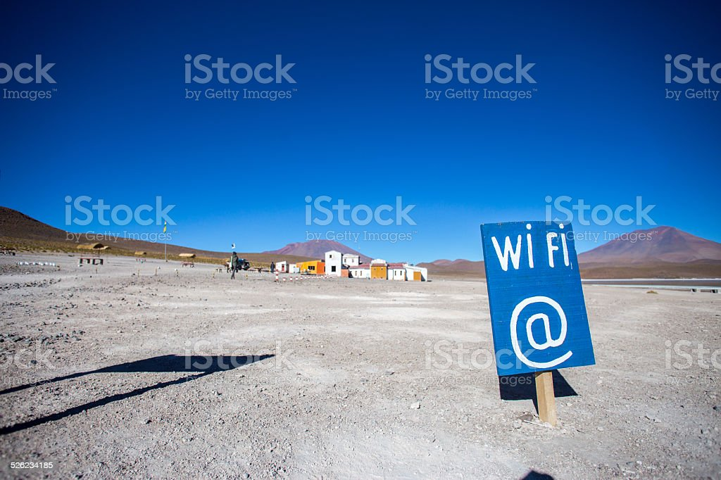 Wifi sign in a remote desert location stock photo