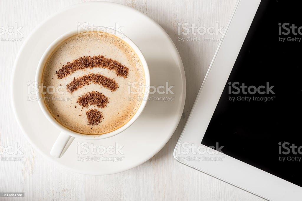 WiFi symbol made of cinnamon as coffee decoration stock photo