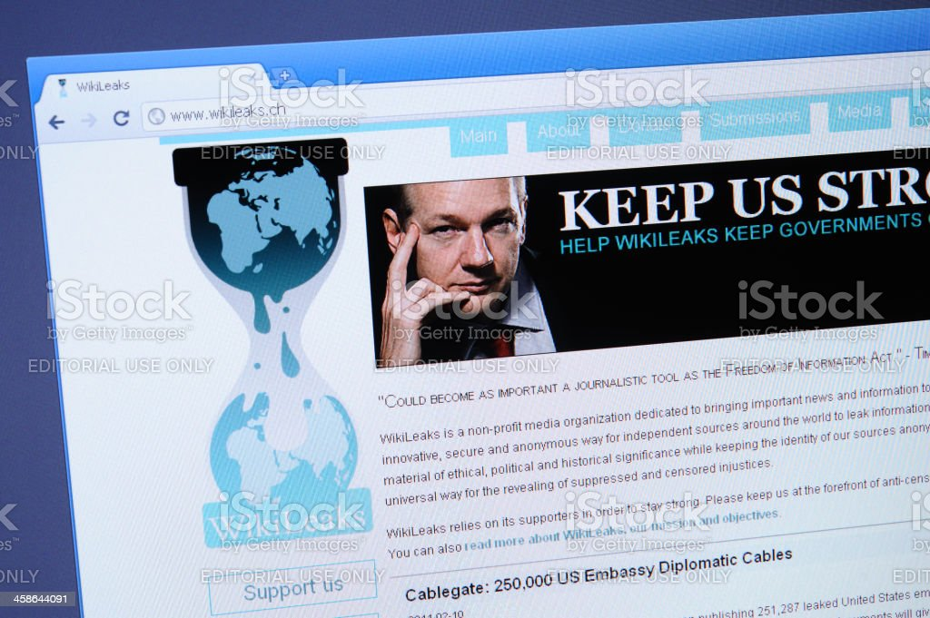 WikiLeaks webpage on the browser stock photo