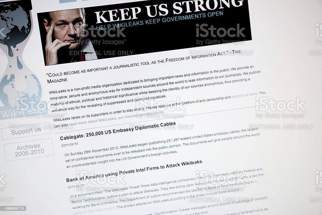 WikiLeaks website screenshot stock photo