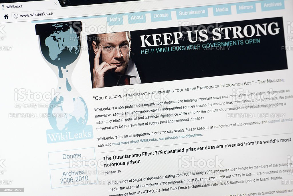 Wikileaks.ch Home Page stock photo