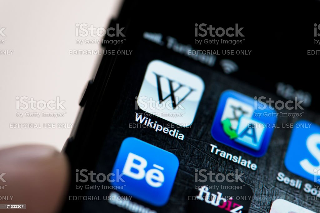 Wikipedia app on Apple iPhone 5 royalty-free stock photo